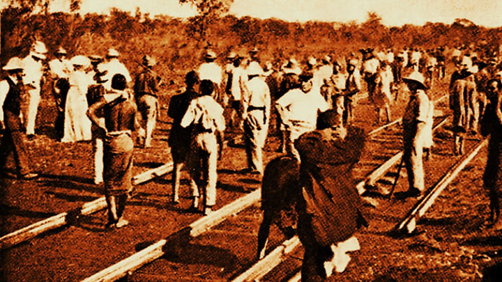Laying track north of Palapye